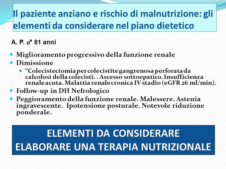 ELEMENTI DA CONSIDERARE ELABORARE UNA TERAPIA NUTRIZIONALE