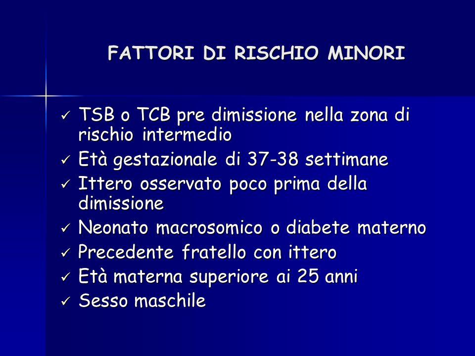 FATTORI DI RISCHIO MINORI