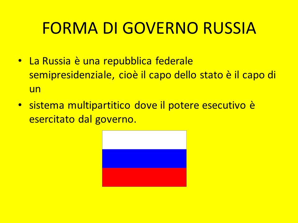 FORMA DI GOVERNO RUSSIA