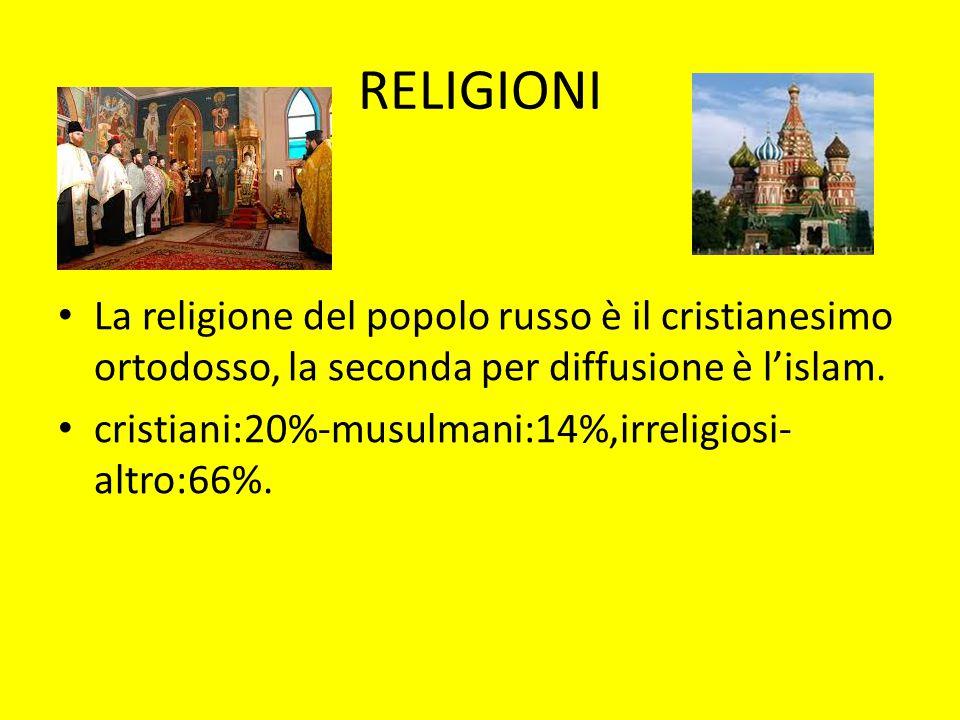 RELIGIONI La religione del popolo russo è il cristianesimo ortodosso, la seconda per diffusione è l'islam.