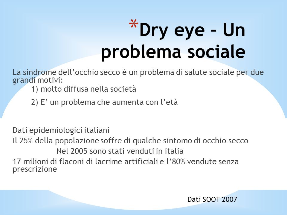 Dry eye – Un problema sociale