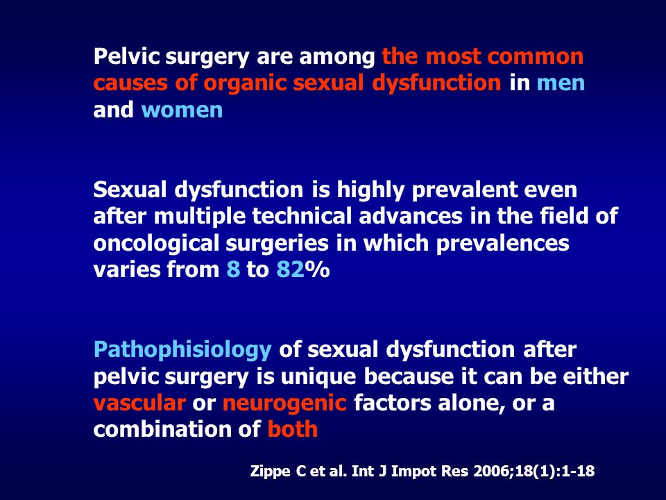 Pelvic surgery are among the most common causes of organic sexual dysfunction in men and women