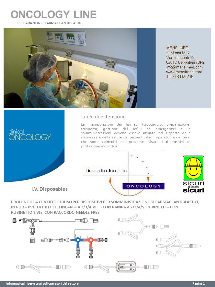 ONCOLOGY LINE I.V. Disposables Linee di estensione