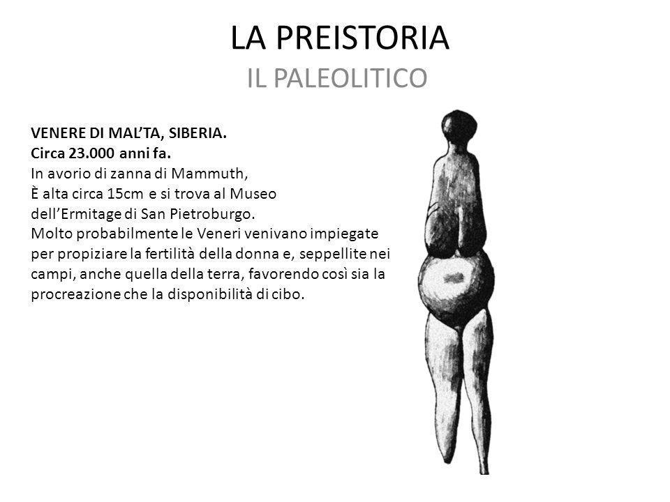 LA PREISTORIA IL PALEOLITICO VENERE DI MAL'TA, SIBERIA.
