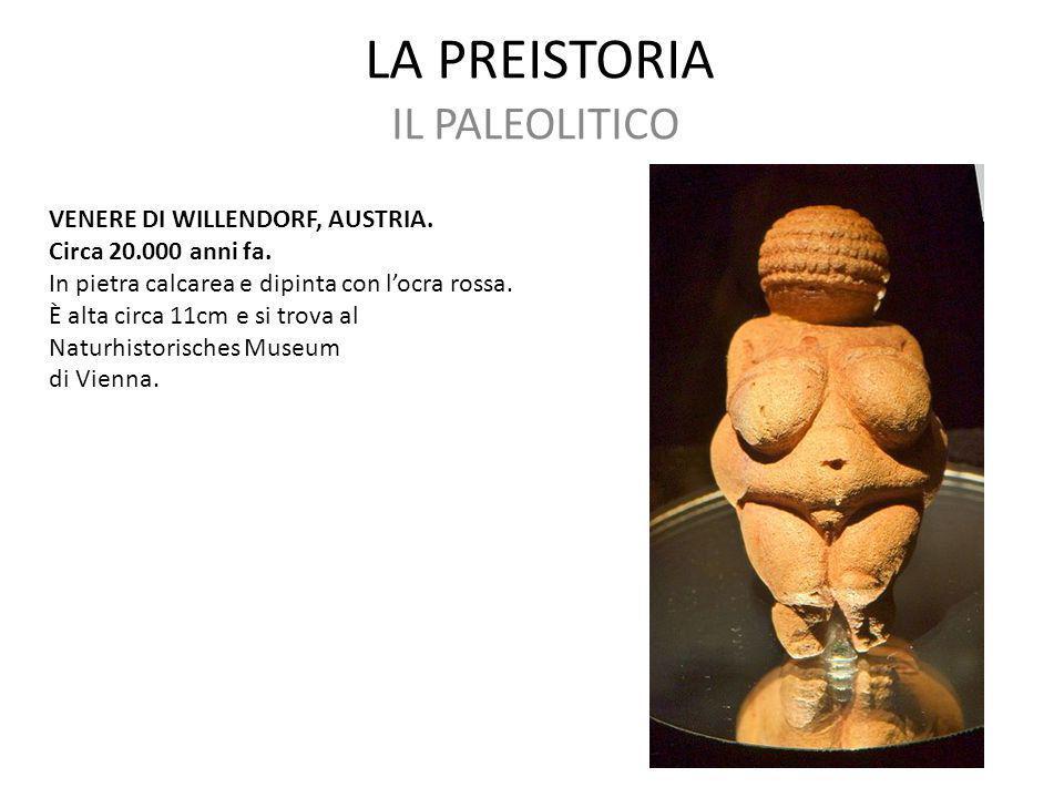 LA PREISTORIA IL PALEOLITICO VENERE DI WILLENDORF, AUSTRIA.