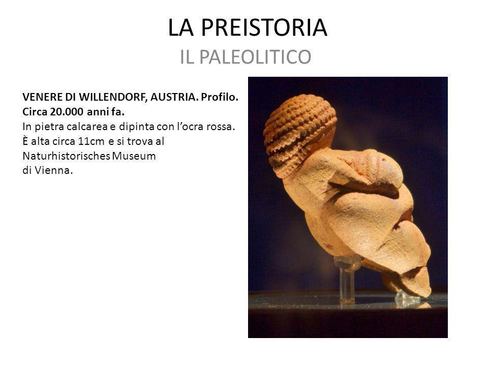 LA PREISTORIA IL PALEOLITICO VENERE DI WILLENDORF, AUSTRIA. Profilo.