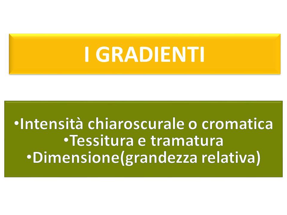 Intensità chiaroscurale o cromatica Dimensione(grandezza relativa)