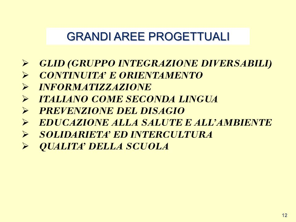 GRANDI AREE PROGETTUALI