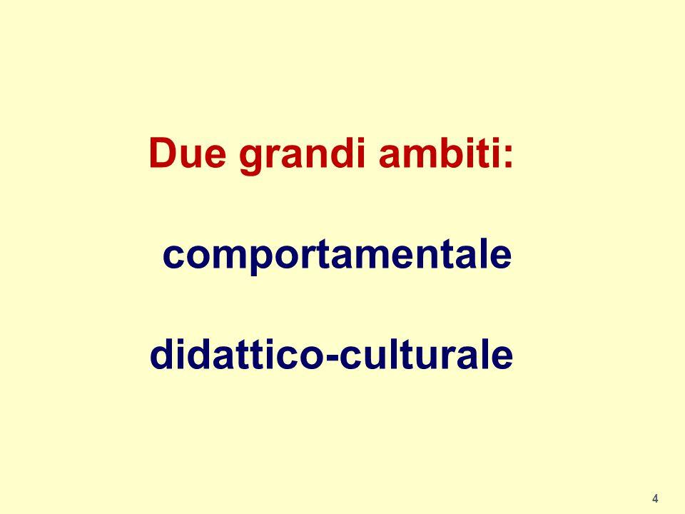 Due grandi ambiti: comportamentale didattico-culturale