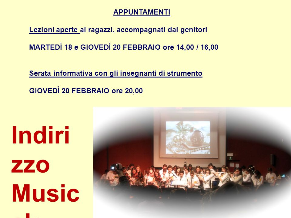 Indirizzo Musicale APPUNTAMENTI