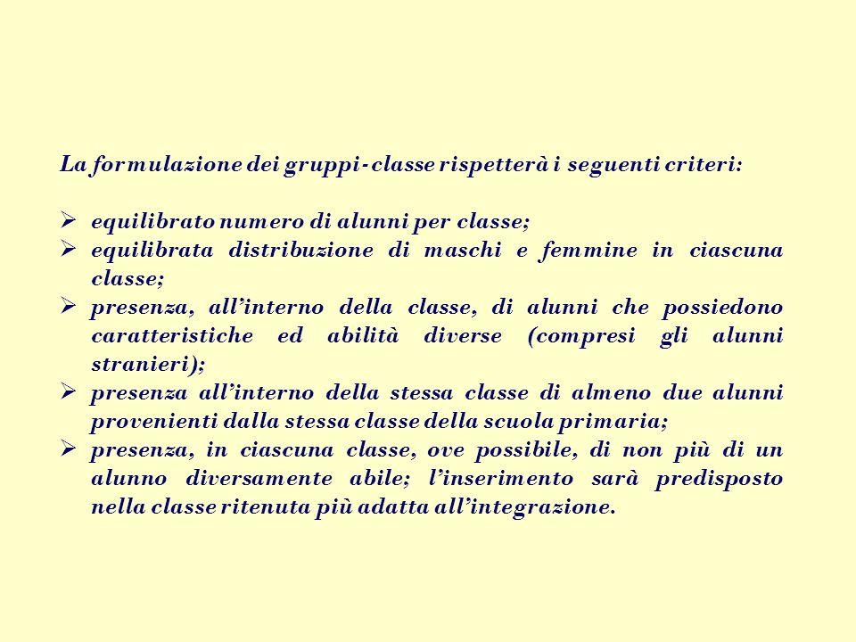 La formulazione dei gruppi‑classe rispetterà i seguenti criteri: