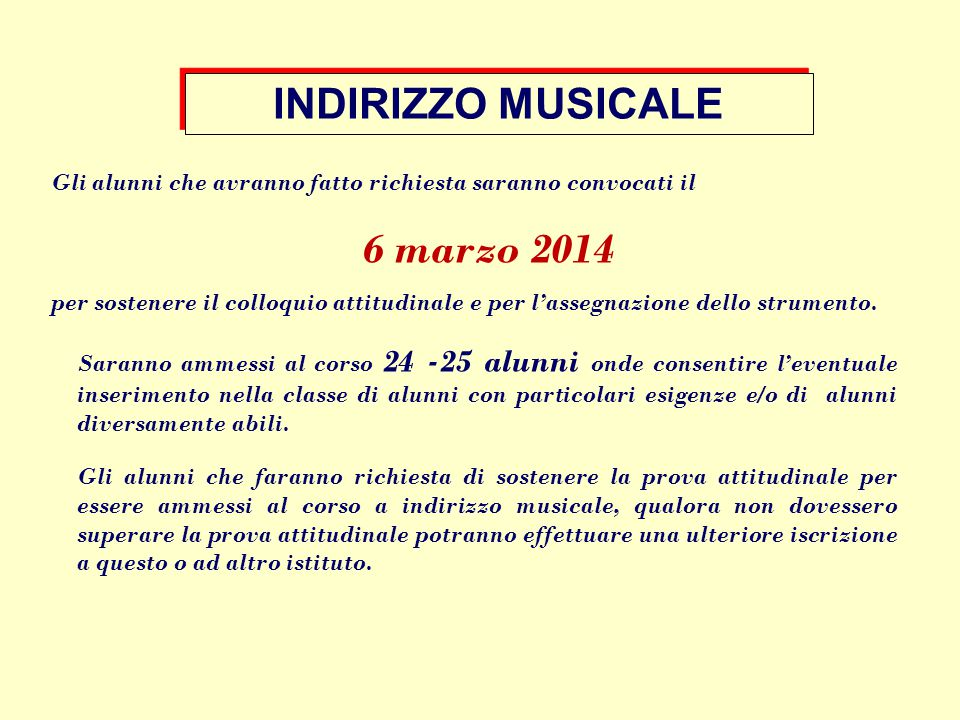 INDIRIZZO MUSICALE 6 marzo 2014