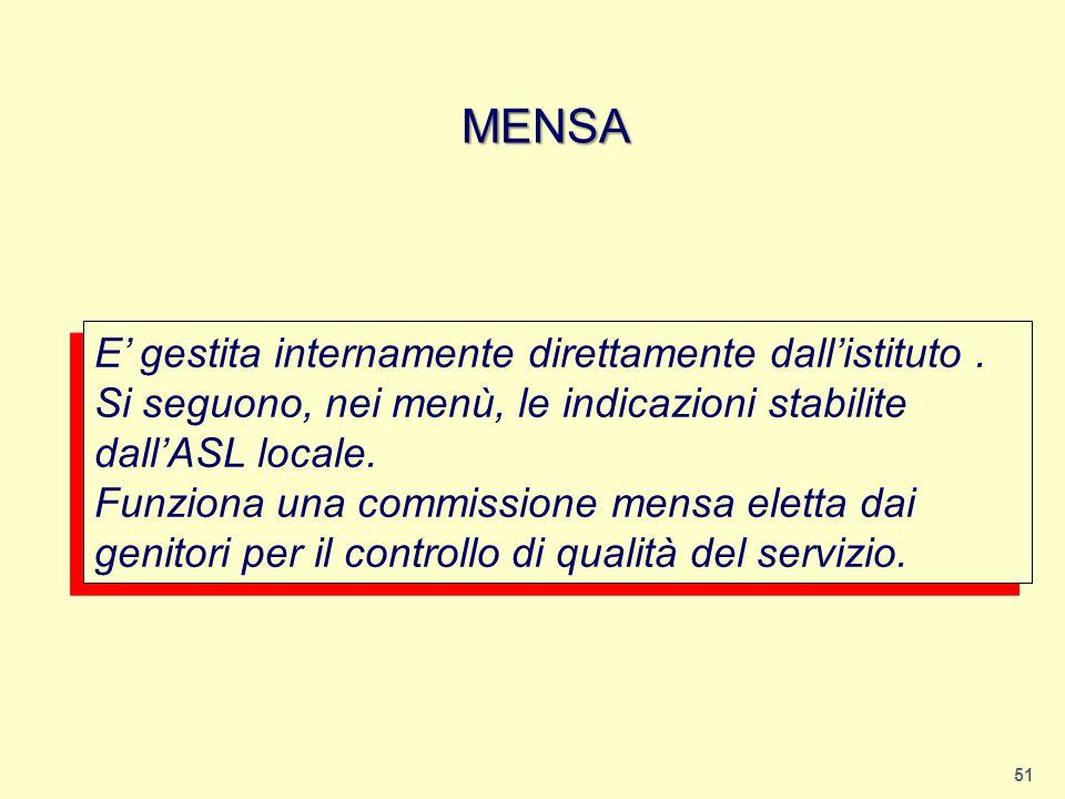 MENSA E' gestita internamente direttamente dall'istituto .