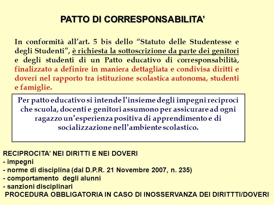 PATTO DI CORRESPONSABILITA'