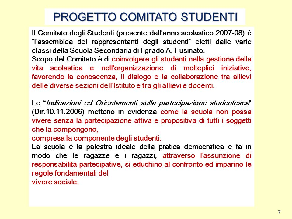 PROGETTO COMITATO STUDENTI