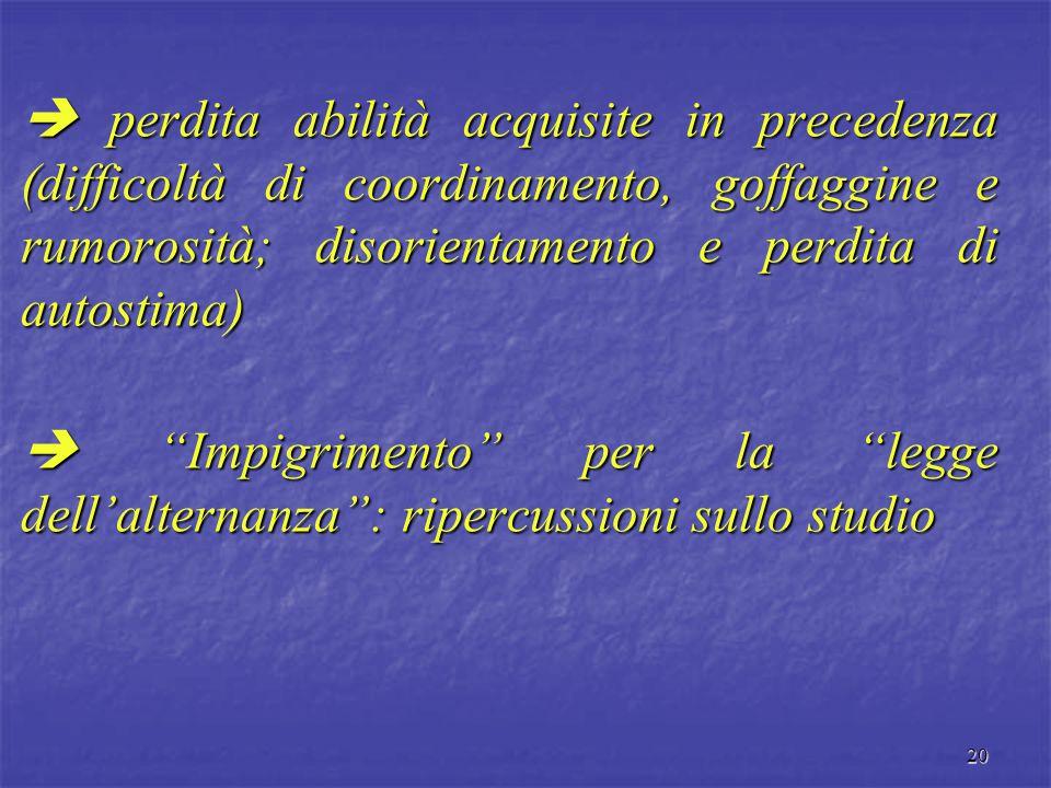  perdita abilità acquisite in precedenza (difficoltà di coordinamento, goffaggine e rumorosità; disorientamento e perdita di autostima)