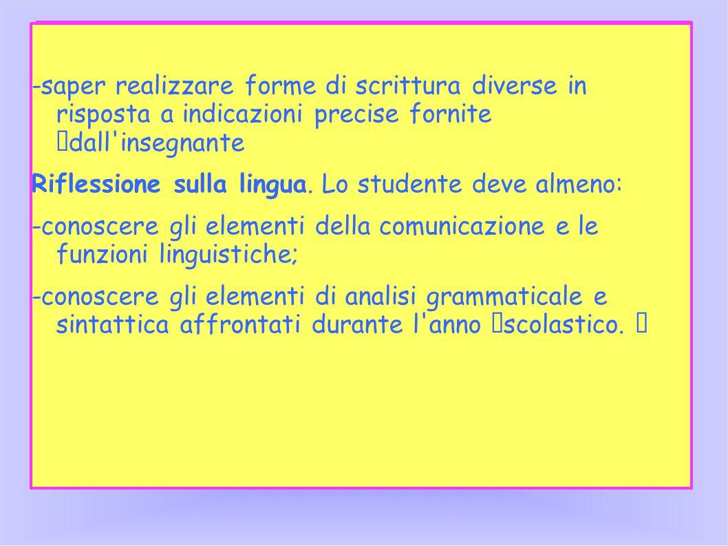 -saper realizzare forme di scrittura diverse in risposta a indicazioni precise fornite dall insegnante Riflessione sulla lingua.
