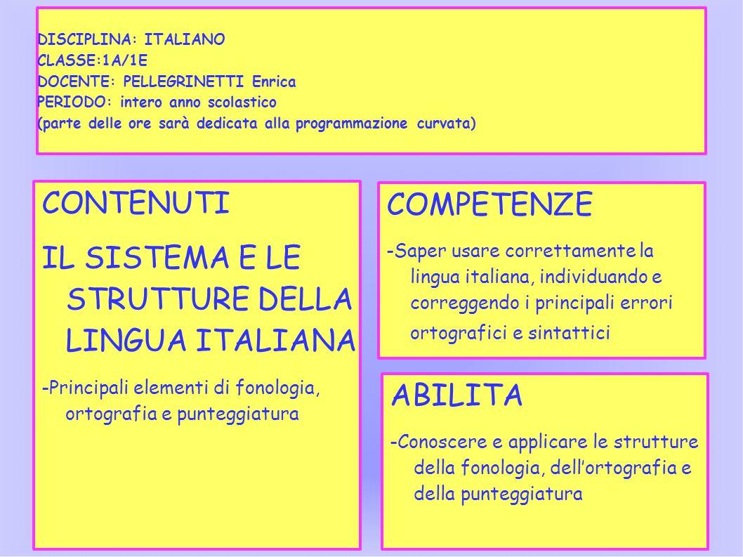 IL SISTEMA E LE STRUTTURE DELLA LINGUA ITALIANA COMPETENZE