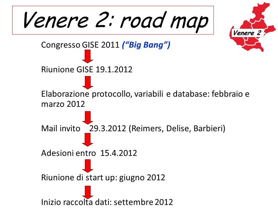 Venere 2: road map Congresso GISE 2011 ( Big Bang )