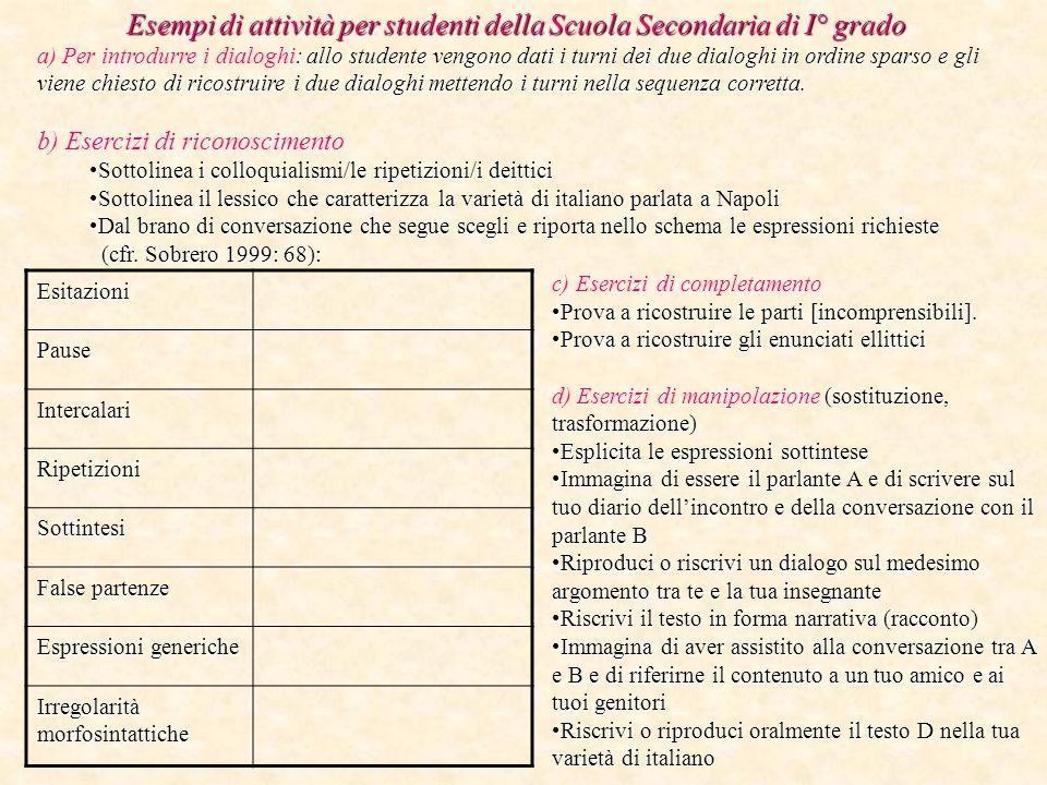 Esempi di attività per studenti della Scuola Secondaria di I° grado