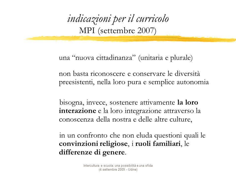 indicazioni per il curricolo MPI (settembre 2007)