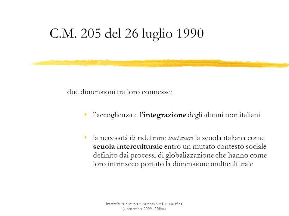 C.M. 205 del 26 luglio 1990 due dimensioni tra loro connesse: