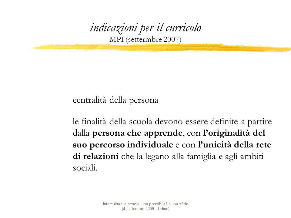 indicazioni per il curricolo MPI (settermbre 2007)