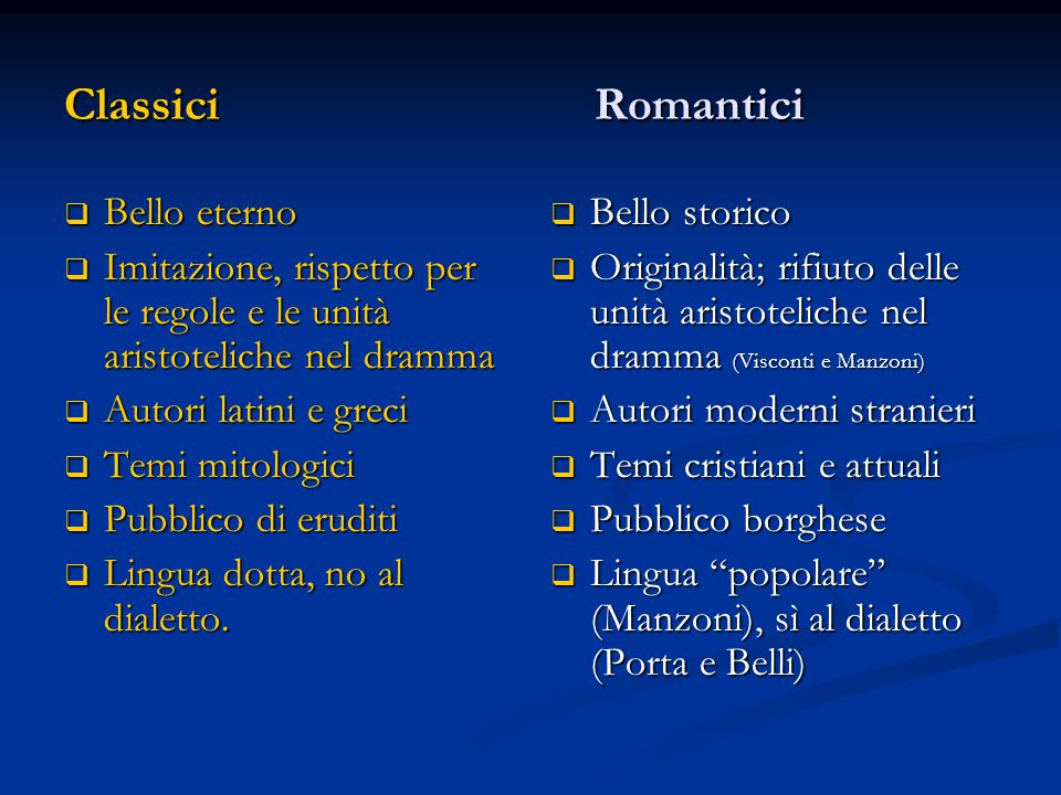 Classici Romantici Bello eterno