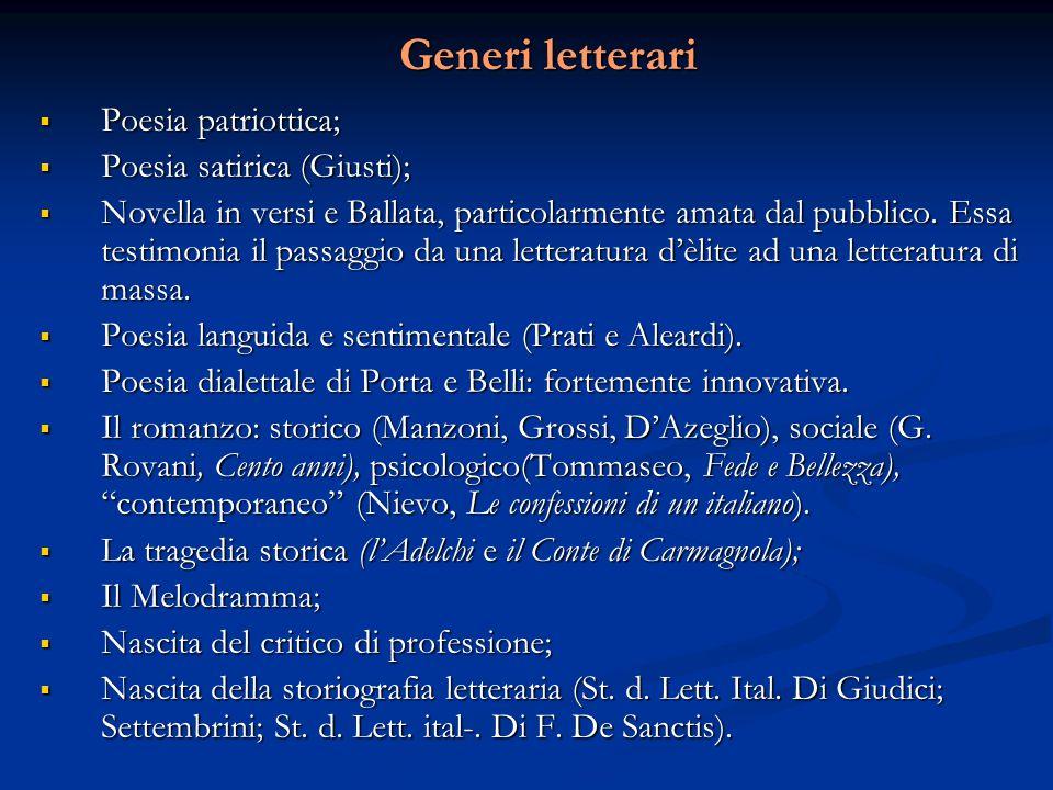 Generi letterari Poesia patriottica; Poesia satirica (Giusti);