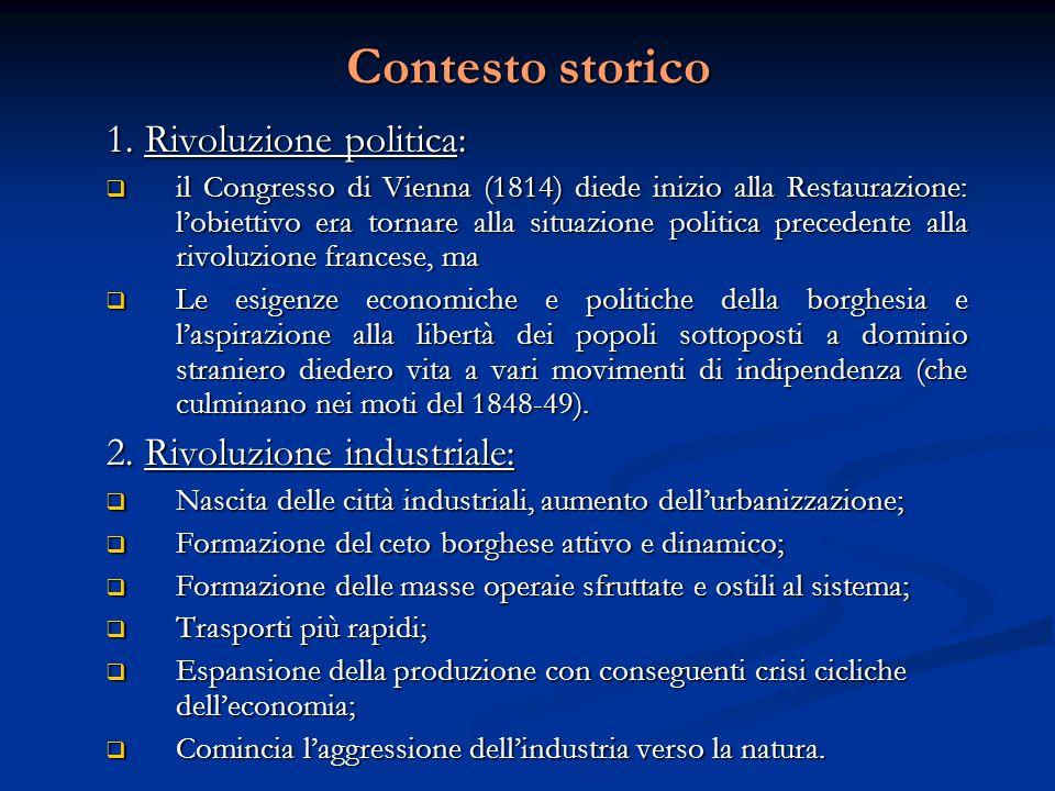 Contesto storico 1. Rivoluzione politica: 2. Rivoluzione industriale: