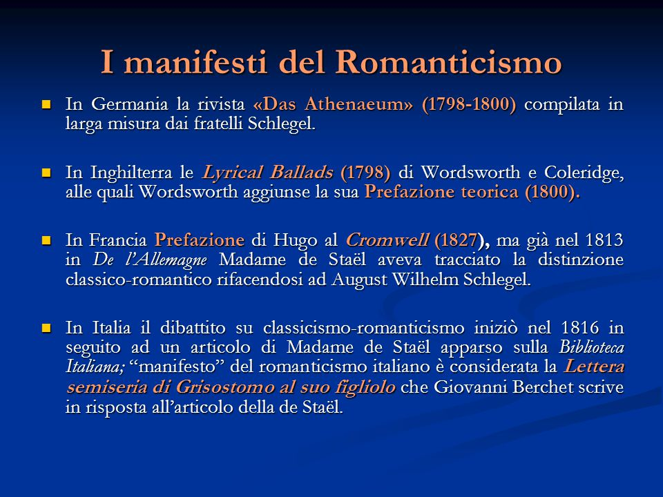 I manifesti del Romanticismo