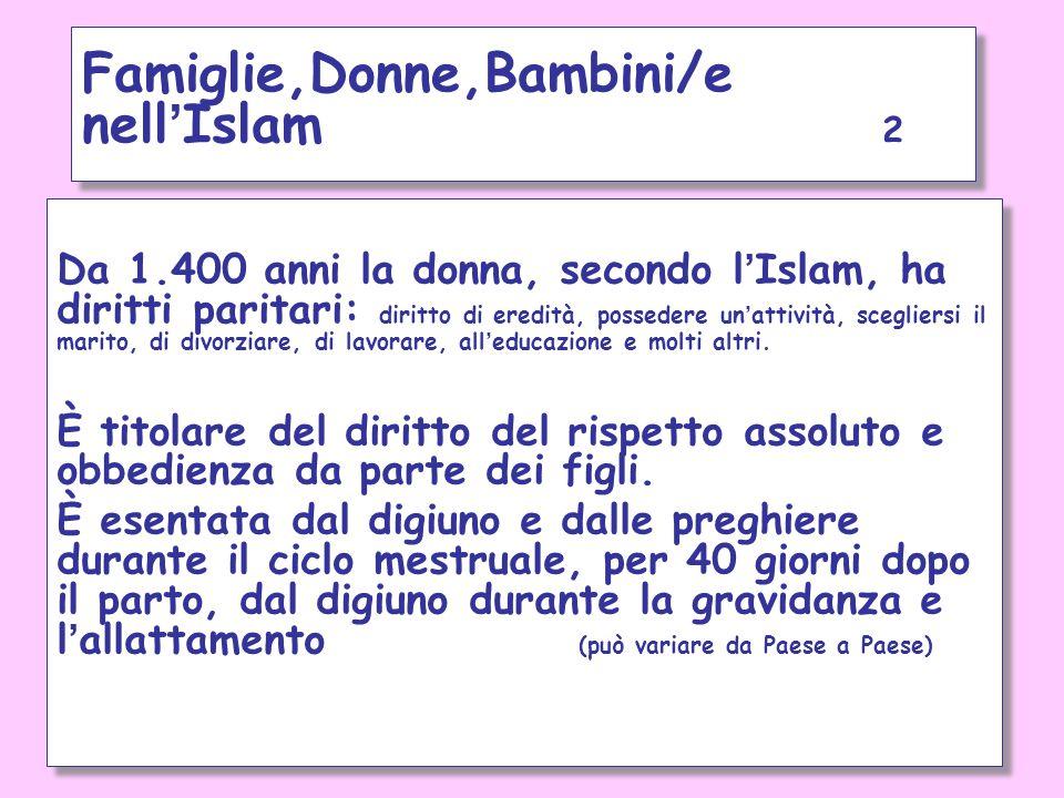 Famiglie,Donne,Bambini/e nell'Islam 2