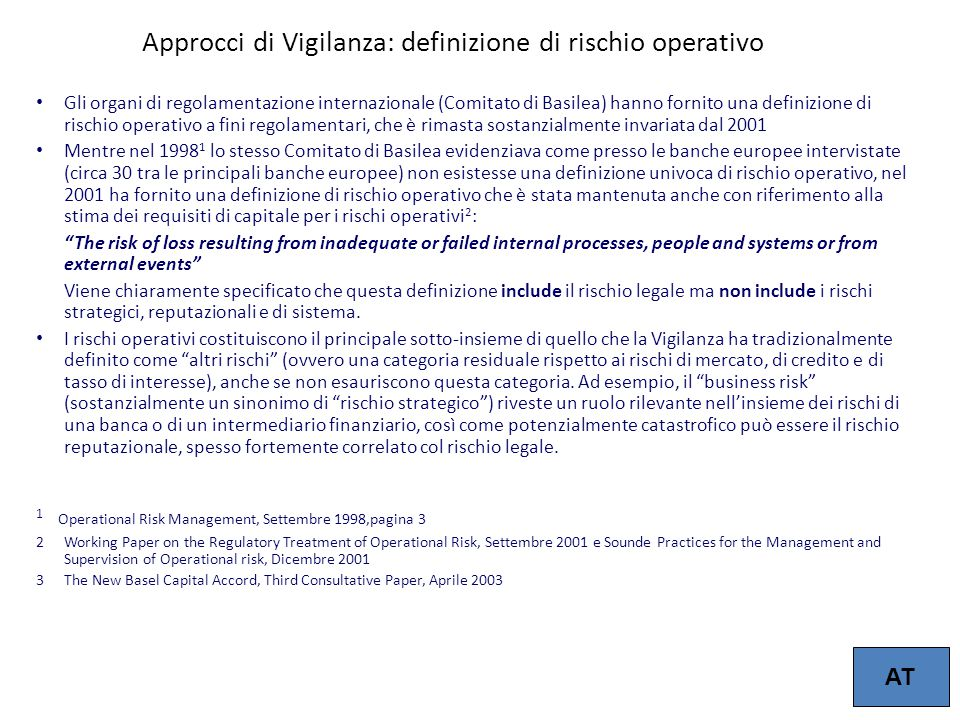 Approcci di Vigilanza: definizione di rischio operativo