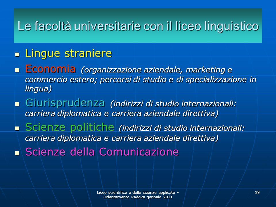 Le facoltà universitarie con il liceo linguistico