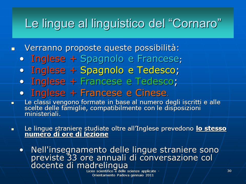 Le lingue al linguistico del Cornaro