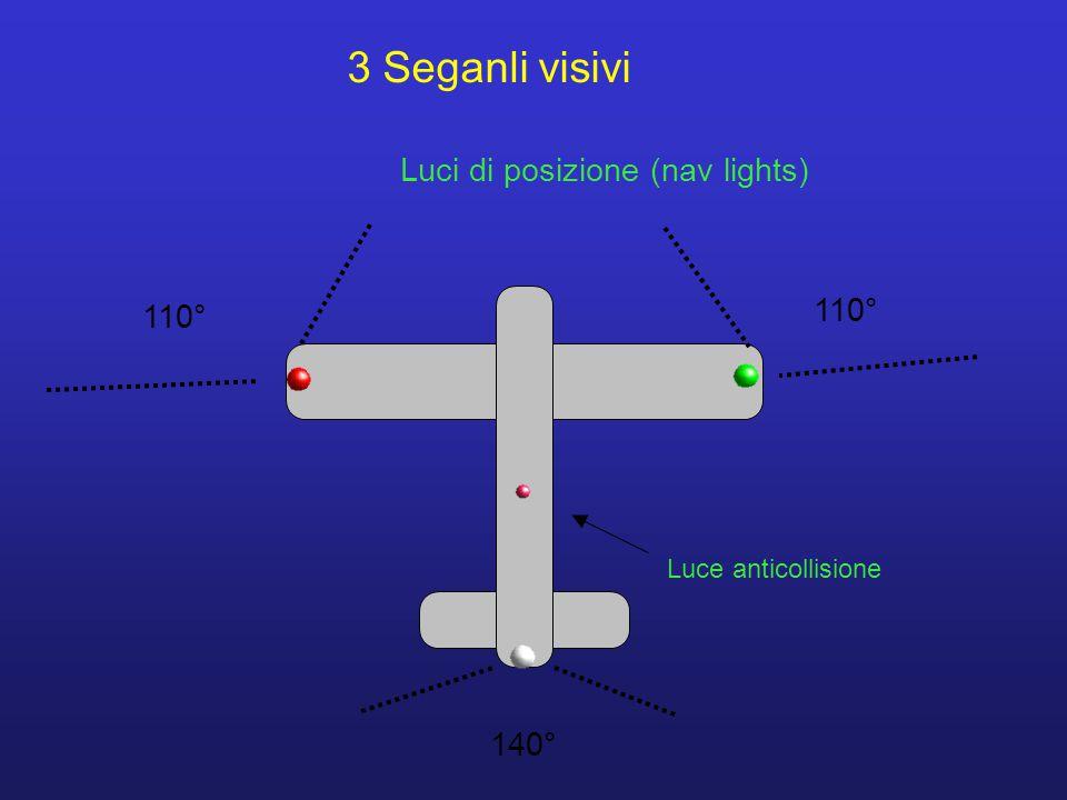 3 Seganli visivi Luci di posizione (nav lights) 110° 110° 140°