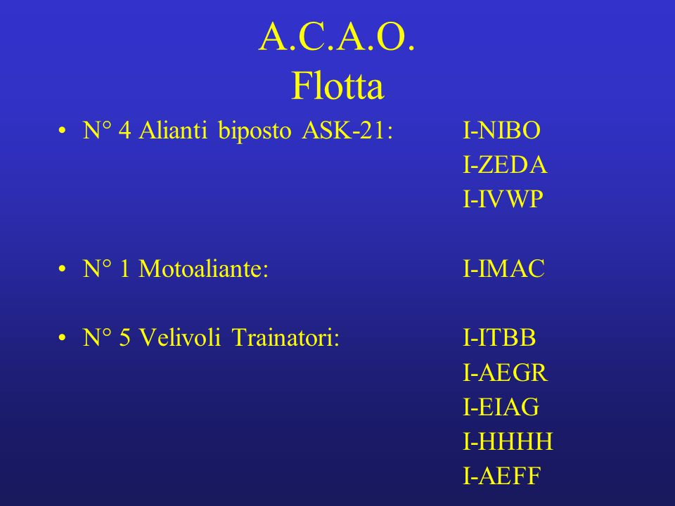A.C.A.O. Flotta N° 4 Alianti biposto ASK-21: I-NIBO I-ZEDA I-IVWP