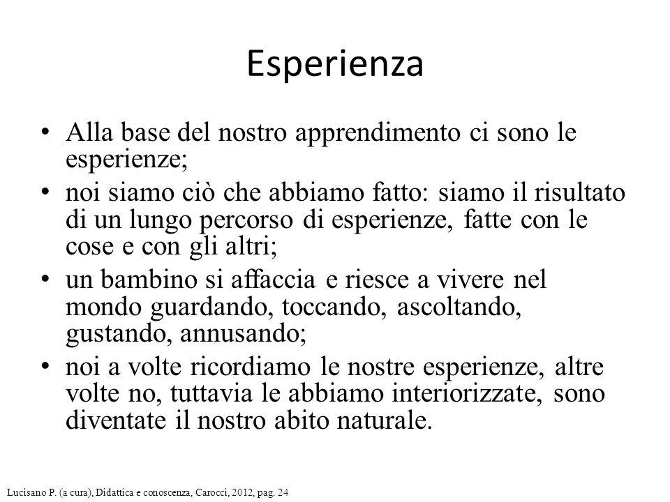 Esperienza Alla base del nostro apprendimento ci sono le esperienze;
