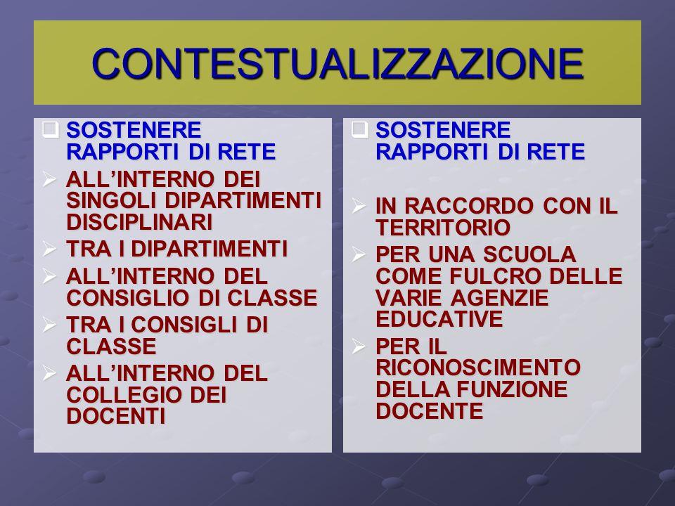 CONTESTUALIZZAZIONE SOSTENERE RAPPORTI DI RETE