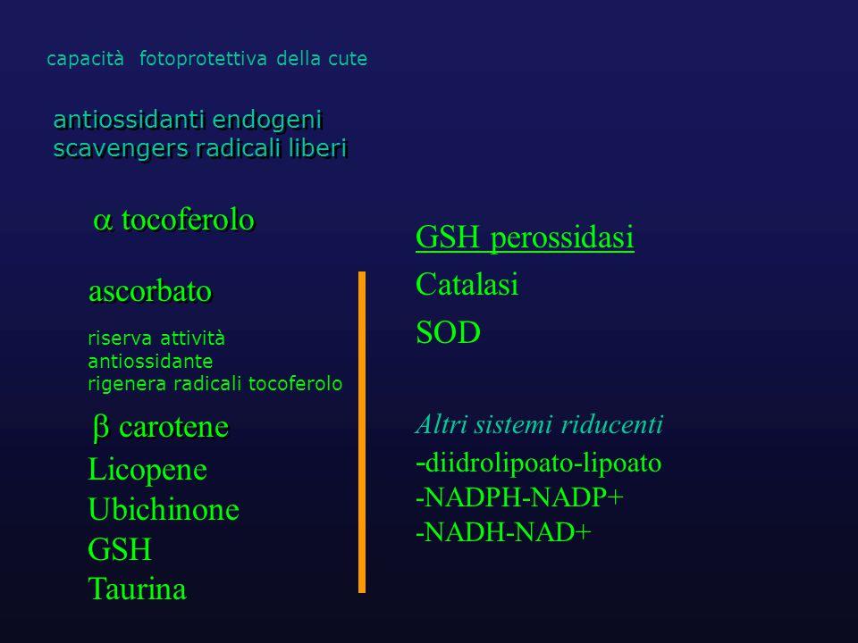  carotene  tocoferolo GSH perossidasi Catalasi SOD ascorbato