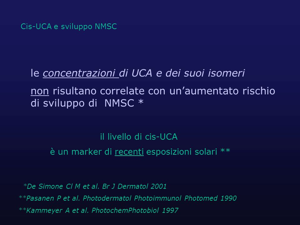 le concentrazioni di UCA e dei suoi isomeri