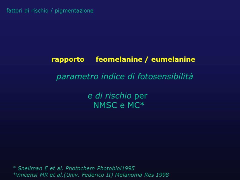 rapporto feomelanine / eumelanine parametro indice di fotosensibilità