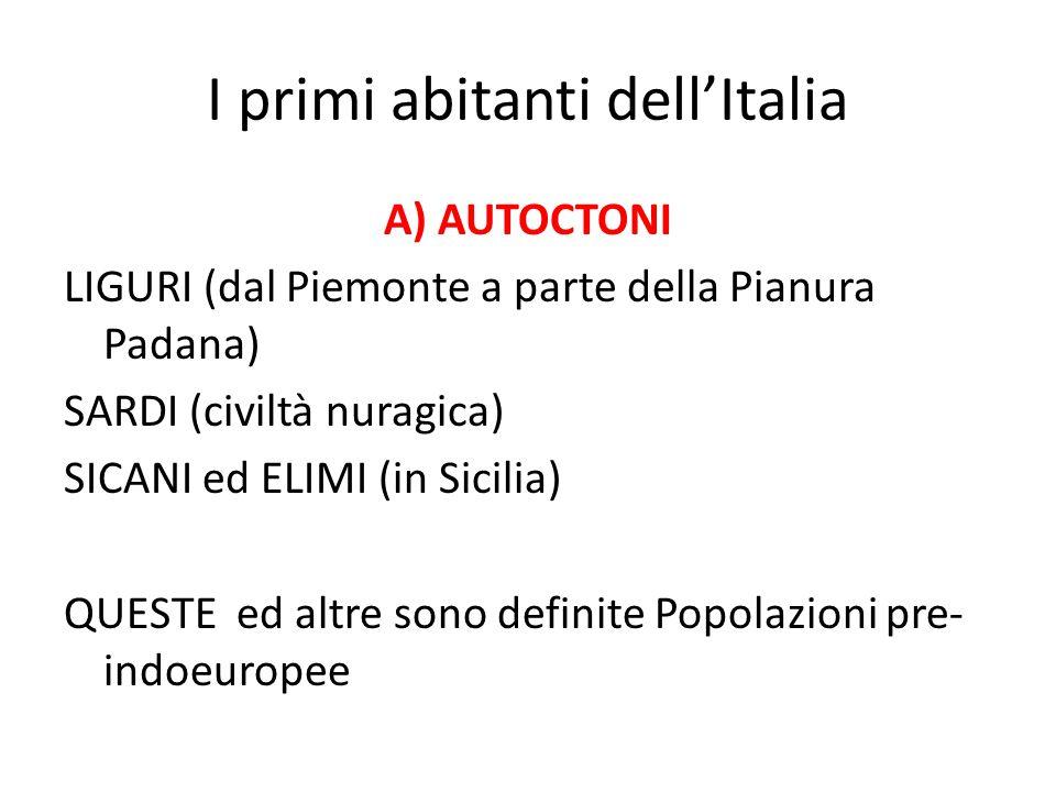 I primi abitanti dell'Italia