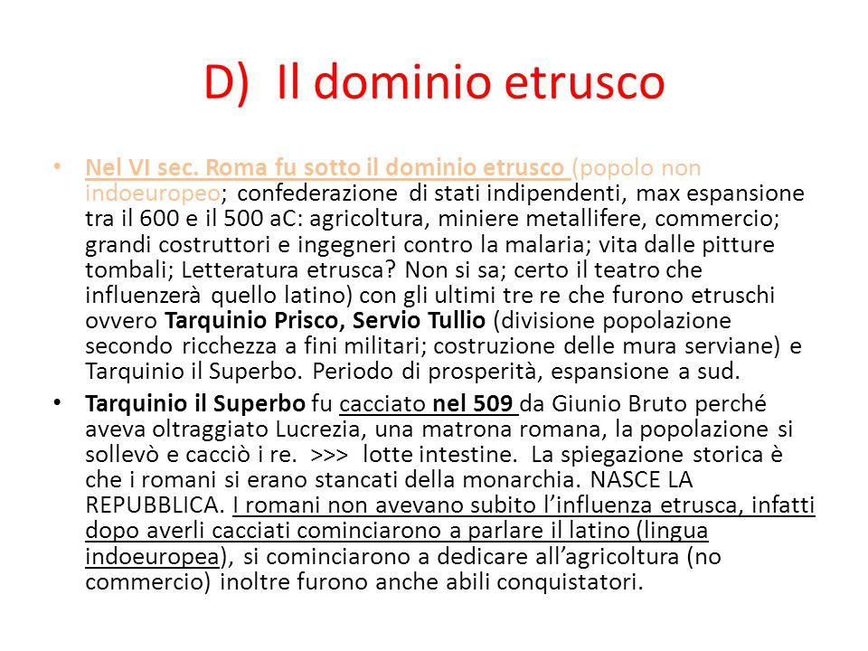 D) Il dominio etrusco
