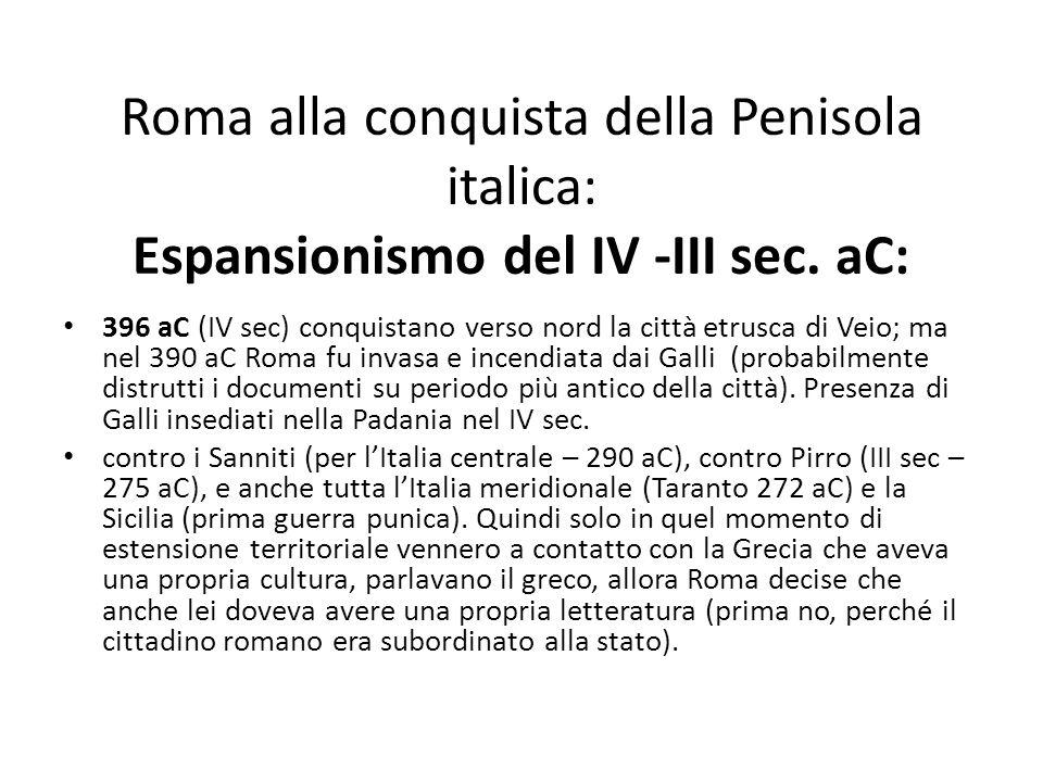 Roma alla conquista della Penisola italica: Espansionismo del IV -III sec. aC: