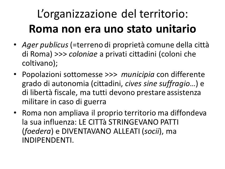 L'organizzazione del territorio: Roma non era uno stato unitario