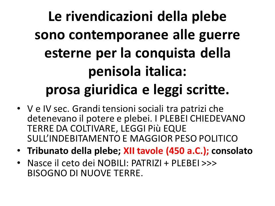 Le rivendicazioni della plebe sono contemporanee alle guerre esterne per la conquista della penisola italica: prosa giuridica e leggi scritte.