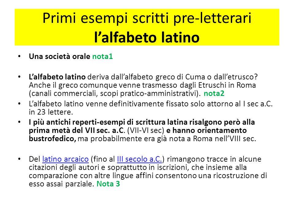 Primi esempi scritti pre-letterari l'alfabeto latino
