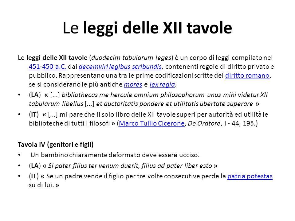 Le leggi delle XII tavole