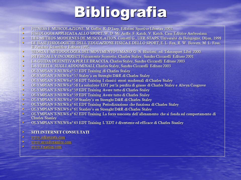 Bibliografia FITNESS E MUSCOLAZIONE; M. Gollin, R. D'Isep, Edizioni Sportive Libertas 2002.
